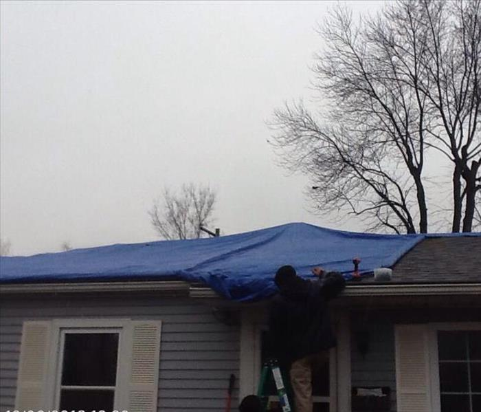 Early morning roof tarp After