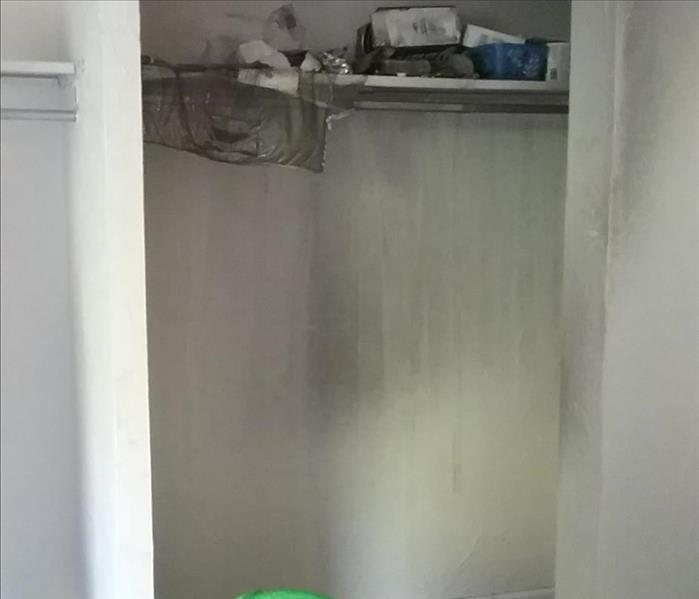 Closet affected by a fire