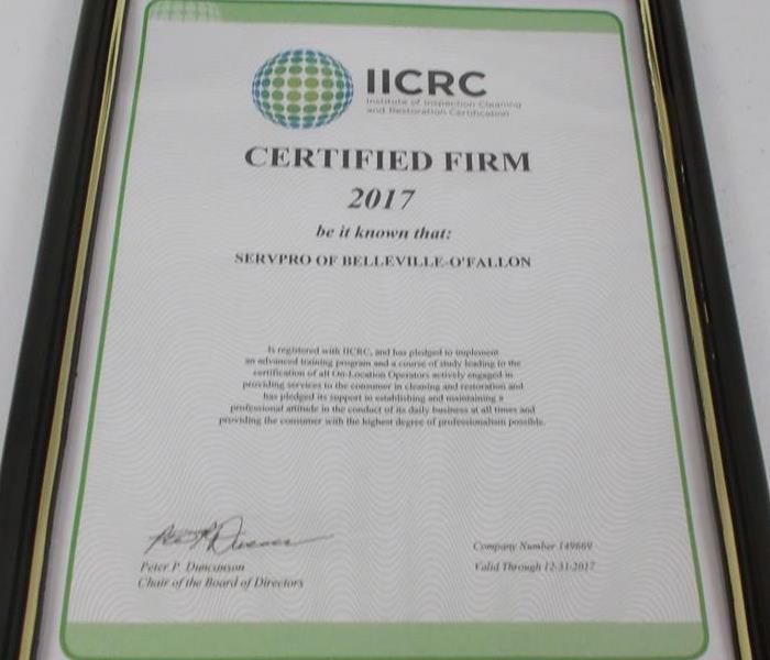 IICRC Certified Firm Renewal   SERVPRO of Belleville - O\'Fallon