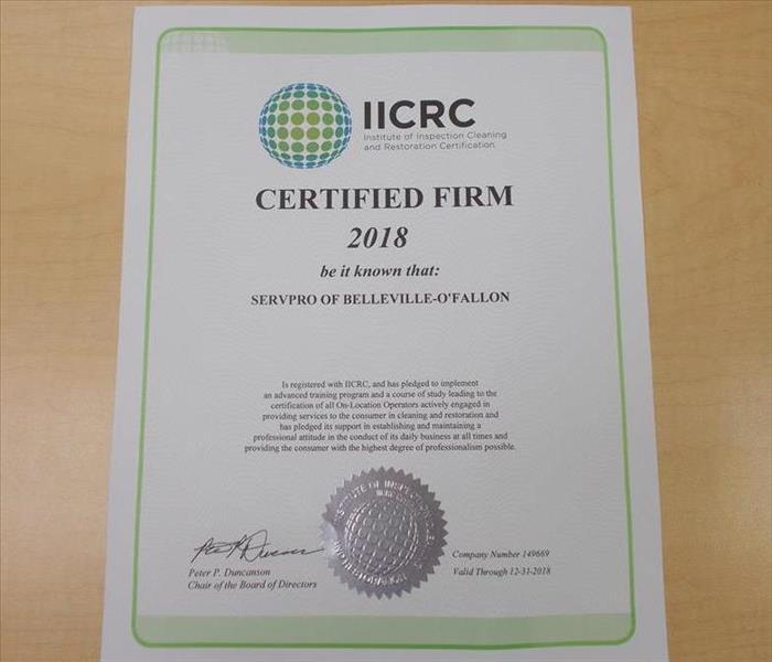 2018 IICRC Certified Firm Renewal   SERVPRO of Belleville - O\'Fallon